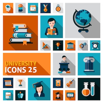 Universiteit icons set