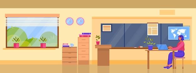 Universiteit of school klas interieur illustratie met jonge vrouwelijke leraar die op internet werkt