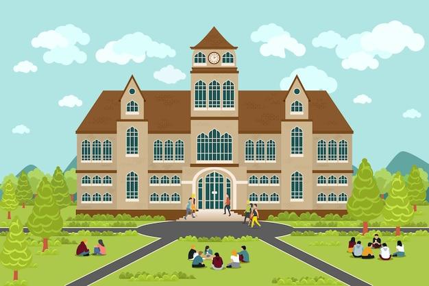 Universiteits- of hogeschoolgebouw. onderwijsstudent, vlak campusontwerp, afstudeeruniversiteit,