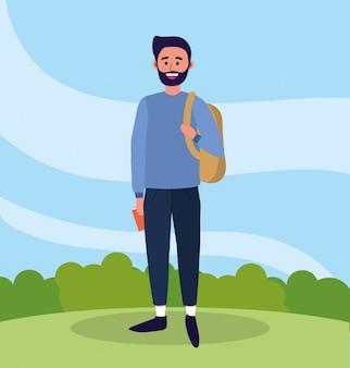 Universiteitsmens met baard en vrijetijdskleding