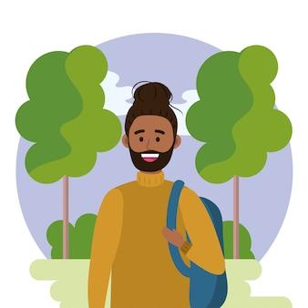 Universiteitsmens met rugzak en bomen met struiken