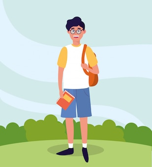 Universiteitsmens met rugzak en studieboeken