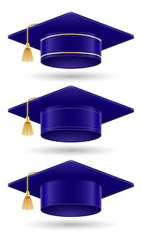 University college en academie afgestudeerde hoed vectorillustratie geïsoleerd op een witte achtergrond