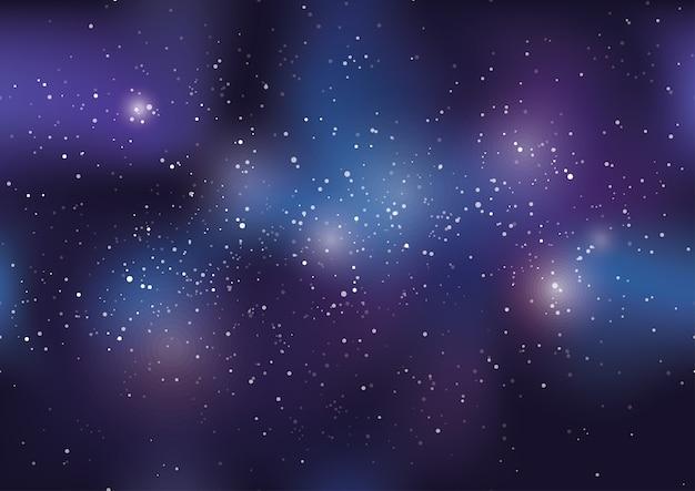 Universum vector achtergrond illustratie gevuld met sterren en nevel.