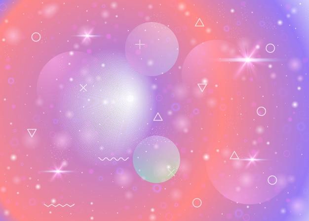 Universumachtergrond met melkweg- en kosmosvormen en sterrenstof. 3d-vloeistof met magische sparkles. fantastisch ruimtelandschap met planeten. holografische futuristische verlopen. memphis universum achtergrond.