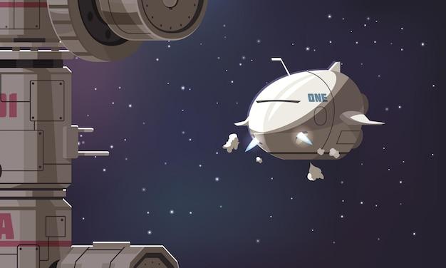Universumverkenningssamenstelling met ruimteschip dat naar het internationale ruimtestation vliegt tegen een sterrenhemelcartoon