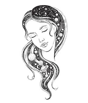 Universumvrouw met melkweg in haar haar met maansterhemel