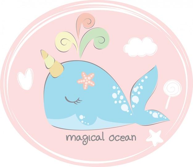 Uniwhale in de oceaan
