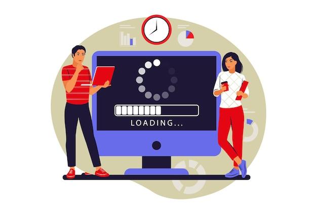 Update-concept. programmeurs die het besturingssysteem van de computer upgraden. vector illustratie. vlak