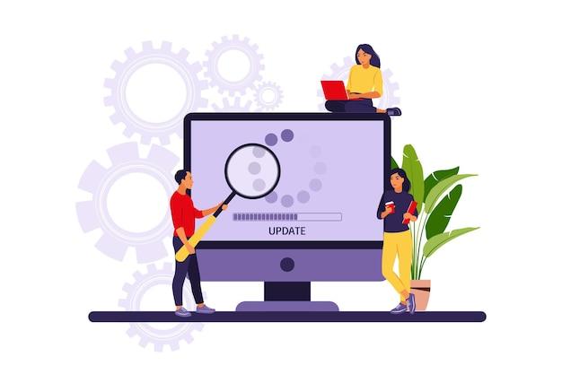 Update concept. programmeurs die het besturingssysteem van de computer upgraden.