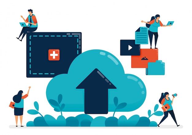 Upload bestanden en documenten naar mappen in de cloud, verhuurdiensten voor hosting en domeinen.