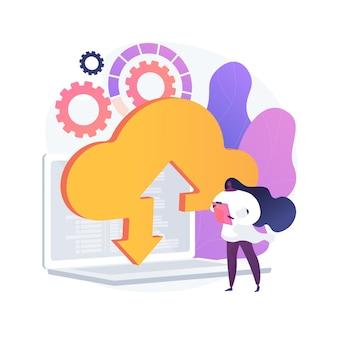 Uploaden naar cloudopslag. draadloze toegang tot informatie. online service, wereldwijde hosting, virtuele ruimte. beschikbare en veilige desktop. vector geïsoleerde concept metafoor illustratie.