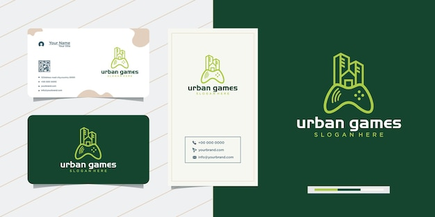 Urban game city logo-ontwerp en visitekaartje