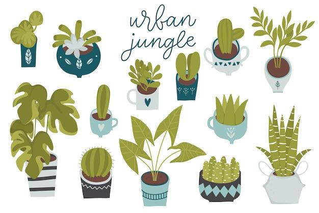 Urban jungle trendy interieur met planten plantenbakken cactussen tropische bladeren geïsoleerd