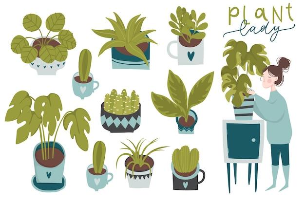Urban jungle trendy woondecoratie met planten plantenbakken cactussen tropische bladeren en meisje