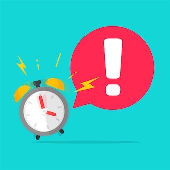 Urgentie tijd tot actie belangrijke herinnering voorzichtig uitroepbericht met wekker rinkelen