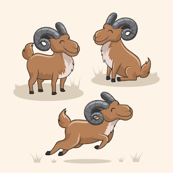 Urial berggeit cartoon schattig gemzen