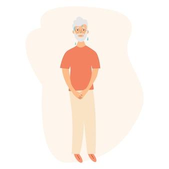 Urine-incontinentie probleem. oudere mannen willen plassen. de oude mannen voelen pijn in zijn lies. pijn ervaren. platte vectorillustratie.