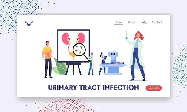 Urineweginfectie, uti-bestemmingspaginasjabloon. kleine dokters en patiëntfiguren op enorme anatomische poster met interne urineblaasorganen, blaas en nieren. cartoon mensen vectorillustratie