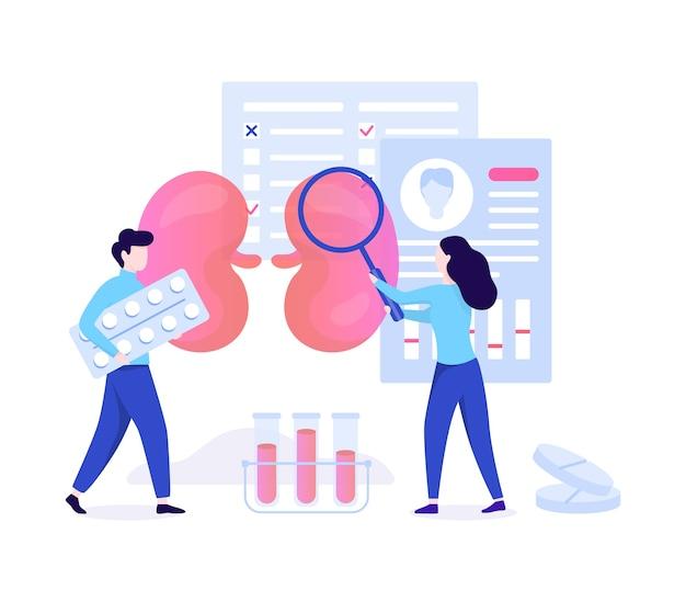 Urologie concept. idee van nier- en blaasbehandeling, ziekenhuiszorg. arts behandeling. illustratie