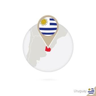Uruguay-kaart en vlag in cirkel. kaart van uruguay, uruguay vlag pin. kaart van uruguay in de stijl van de wereld. vectorillustratie.