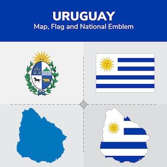 Uruguay-kaart, vlag en nationaal embleem