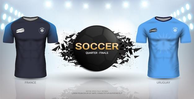 Uruguay versus frankrijk voetbal jersey sjabloon.