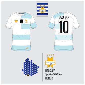 Uruguay voetbal jersey of voetbal kit sjabloon