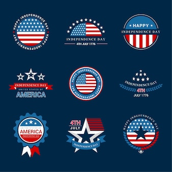 Us independence day-etiketten of -badges