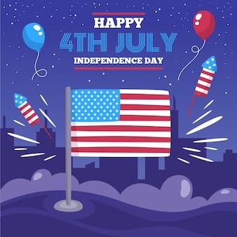 Usa 4 juli ballonnen en vuurwerk