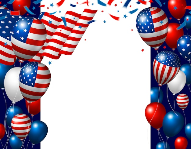 Usa 4 juli onafhankelijkheidsdag achtergrondontwerp van amerikaanse vlag en ballonnen