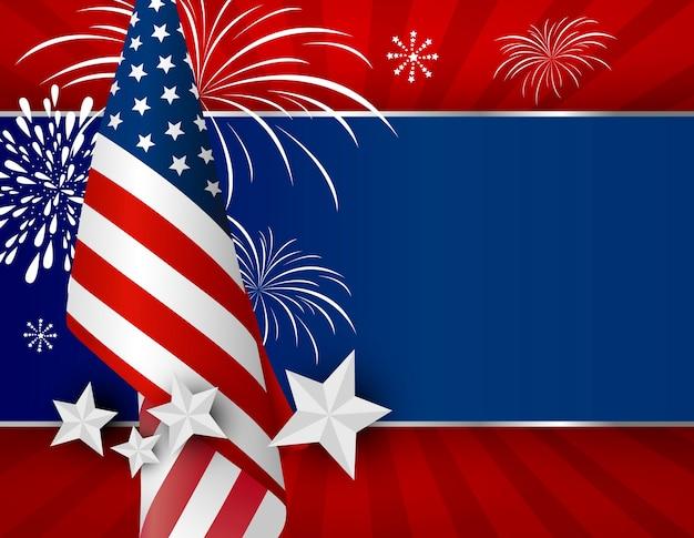 Usa achtergrondontwerp van amerikaanse vlag voor 4 juli