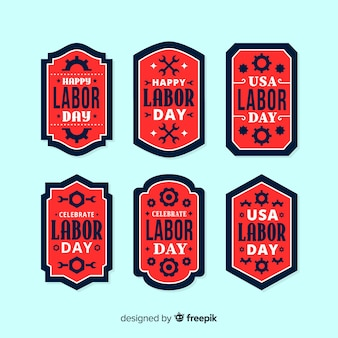 Usa arbeidsdag labels in vlakke stijl