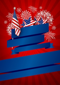 Usa banner ontwerp van amerika vlag en vuurwerk