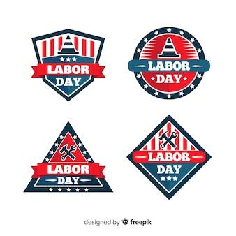 Usa dag van de arbeid badge collectie in vlakke stijl