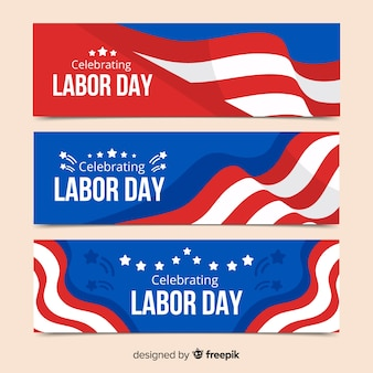 Usa dag van de arbeid banners in vlakke stijl