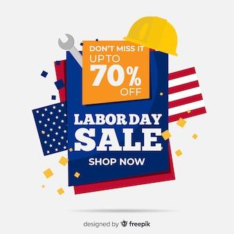 Usa dag van de arbeid verkoop achtergrond in vlakke stijl