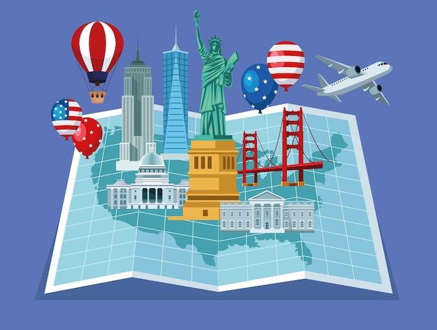 Usa-elementen in papieren kaart