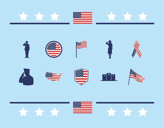 Usa gedenkteken pictogrammen instellen