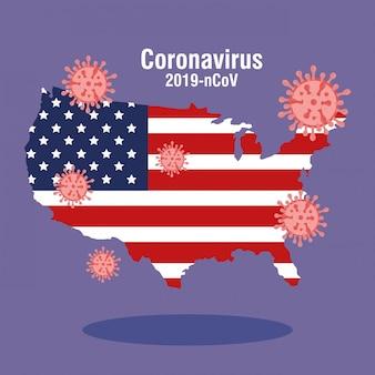 Usa kaart en vlag met covid19 deeltjes