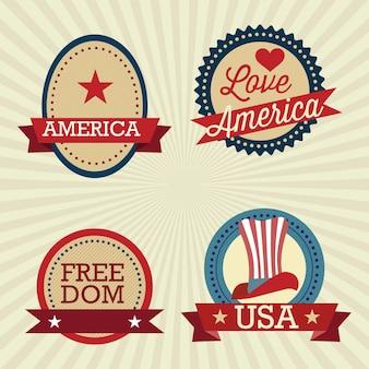 Usa labels-collectie op vintage achtergrond