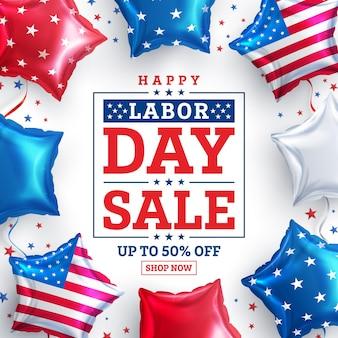 Usa labor day sale postersjabloon usa labor day viering met amerikaanse ballonnen vlag