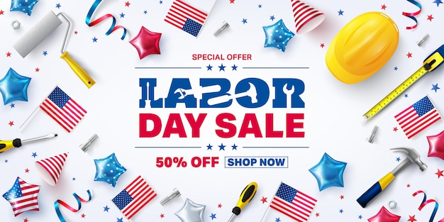 Usa labor day verkoop poster sjabloon.