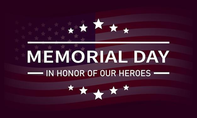 Usa memorial day vector banner. ter ere van onze heldentekst met sterren op de vlagachtergrond van de v.s. vectorillustratie eps 10