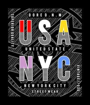 Usa nyc typografie voor print t-shirt