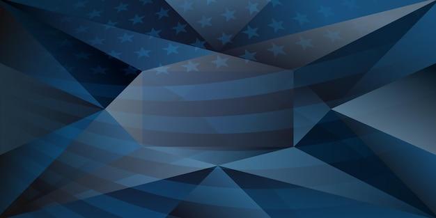 Usa onafhankelijkheidsdag abstracte achtergrond met elementen van de amerikaanse vlag in donkerblauwe kleuren