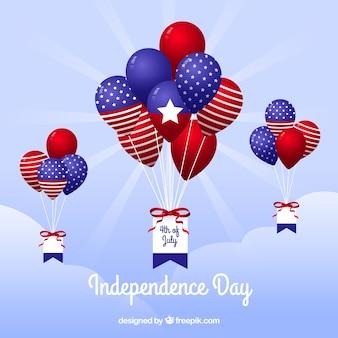 Usa-onafhankelijkheidsdag met platte ballonnen