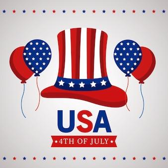 Usa onafhankelijkheidsdag met tophat