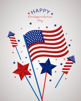 Usa onafhankelijkheidsdag met vuurwerk