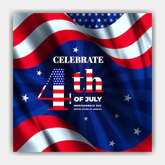 Usa onafhankelijkheidsdag viering sjabloon voor sociale media-spandoek